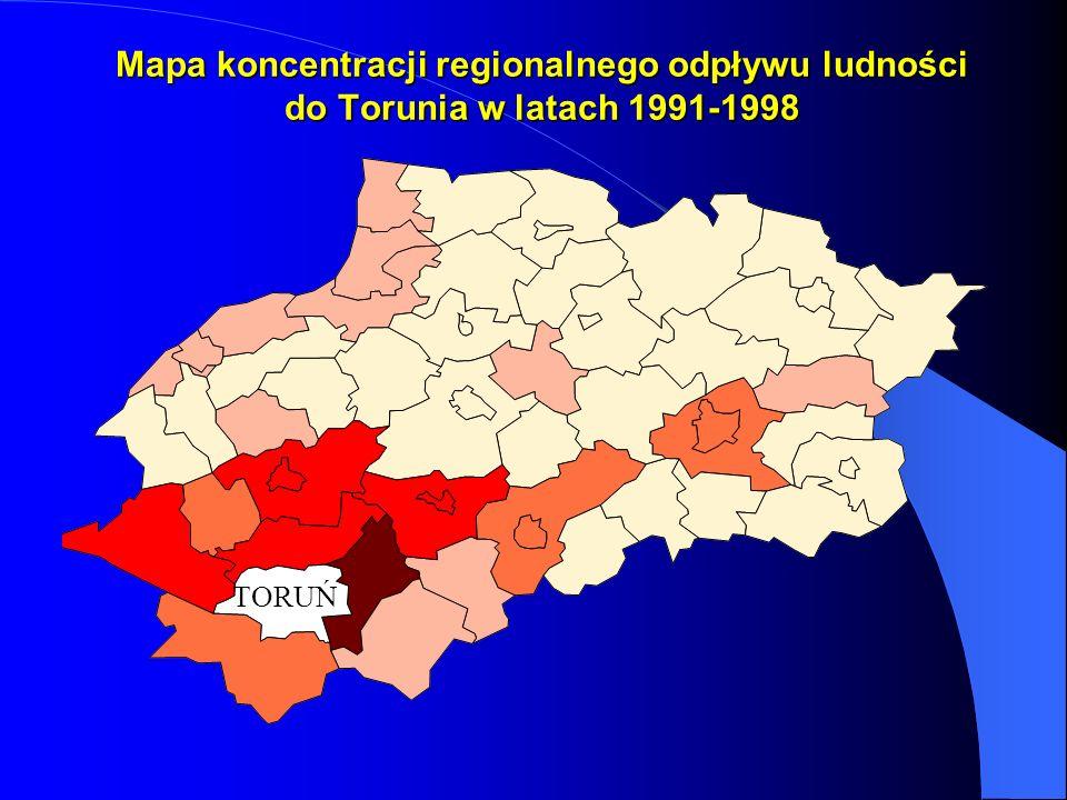 Mapa koncentracji regionalnego odpływu ludności do Torunia w latach 1991-1998
