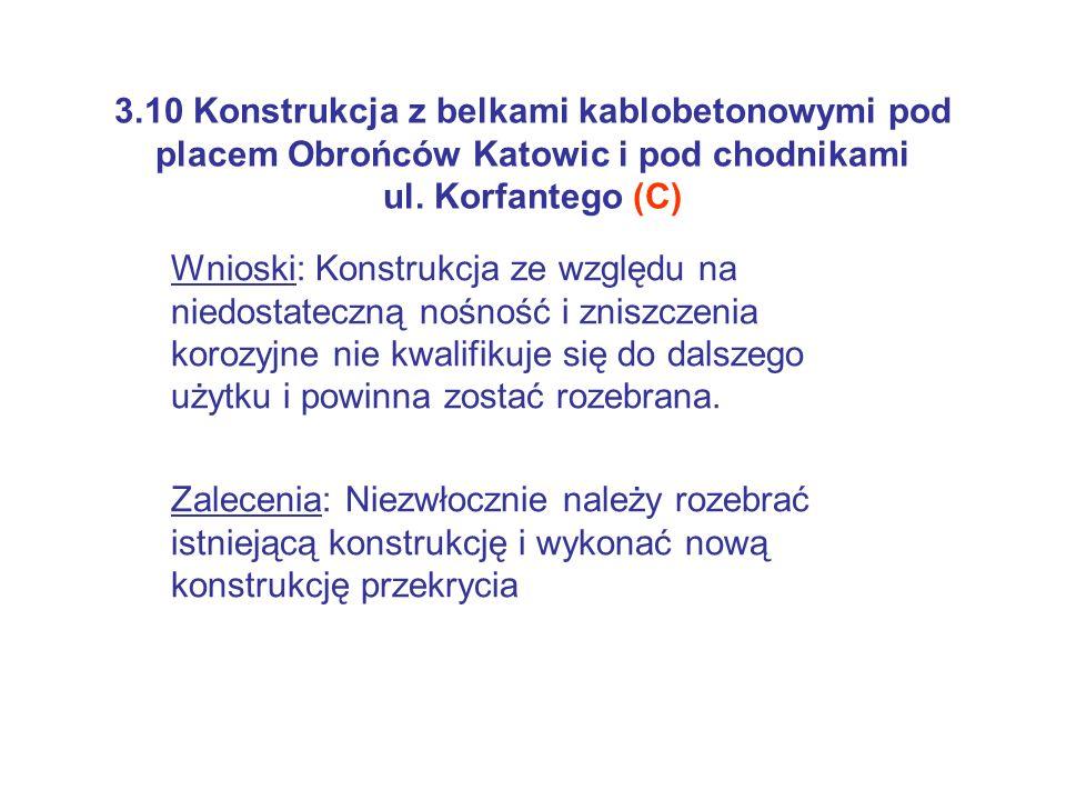 3.10 Konstrukcja z belkami kablobetonowymi pod placem Obrońców Katowic i pod chodnikami ul. Korfantego (C)