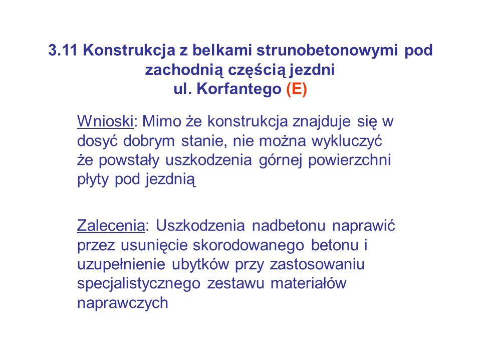3.11 Konstrukcja z belkami strunobetonowymi pod zachodnią częścią jezdni ul. Korfantego (E)