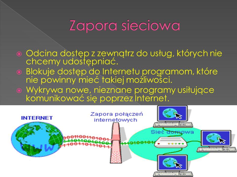 Zapora sieciowa Odcina dostęp z zewnątrz do usług, których nie chcemy udostępniać.