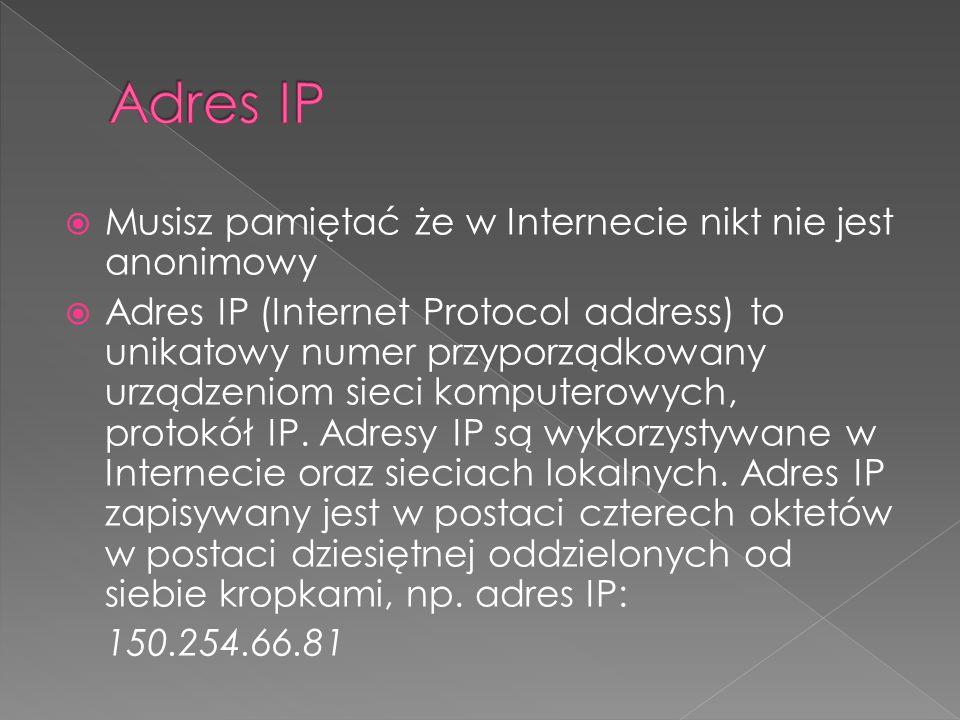 Adres IP Musisz pamiętać że w Internecie nikt nie jest anonimowy