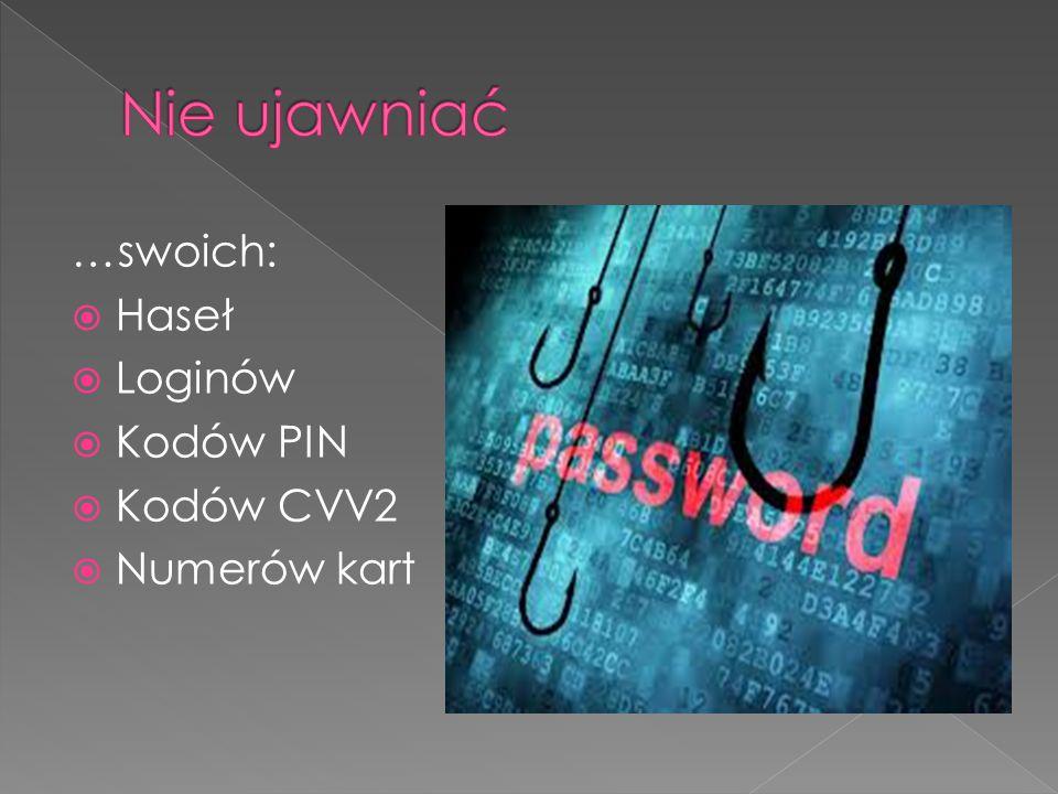 Nie ujawniać …swoich: Haseł Loginów Kodów PIN Kodów CVV2 Numerów kart