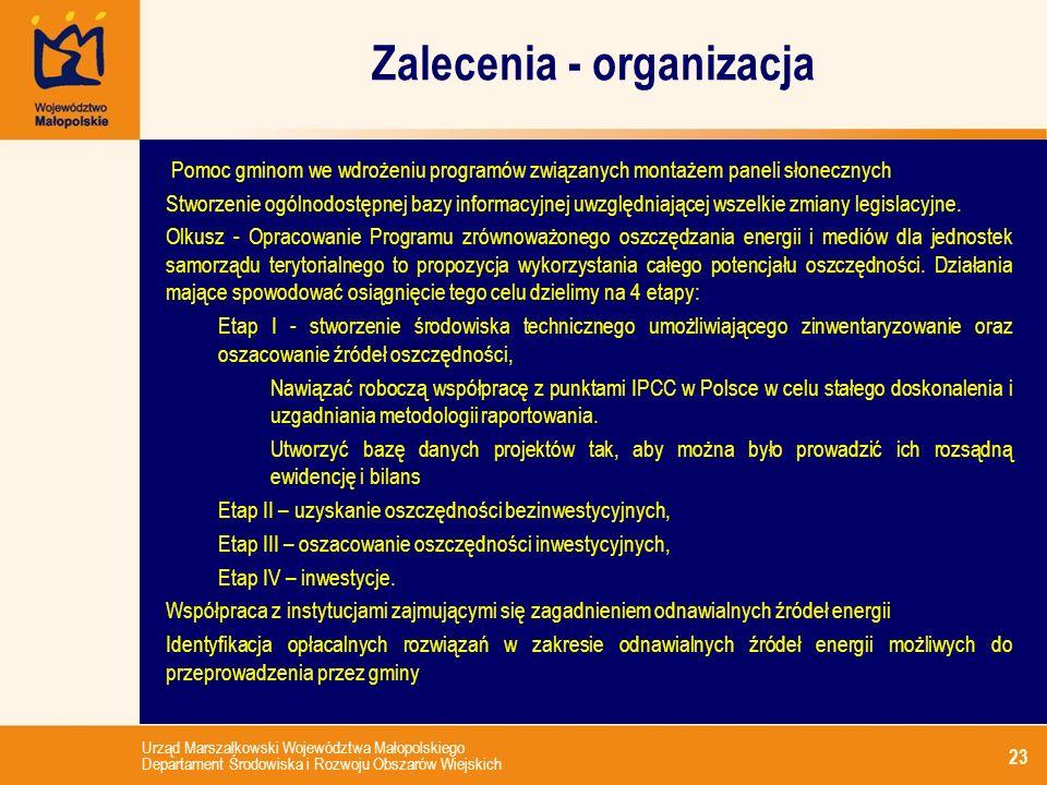 Zalecenia - organizacja