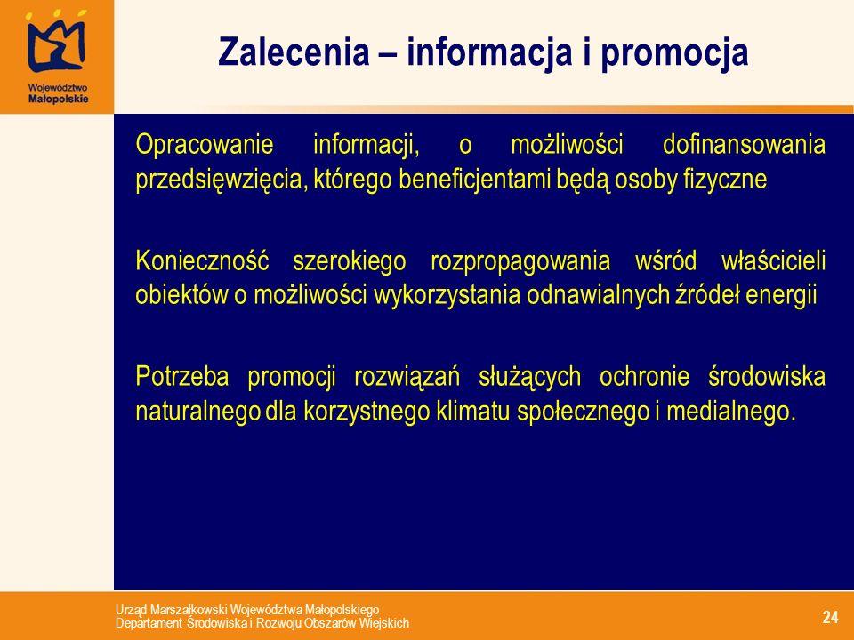 Zalecenia – informacja i promocja