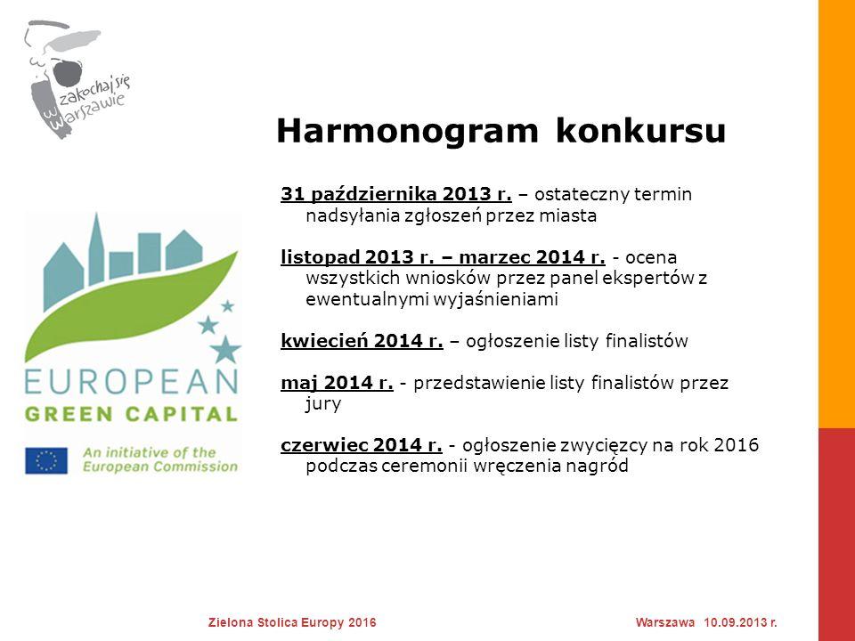 Harmonogram konkursu 31 października 2013 r. – ostateczny termin nadsyłania zgłoszeń przez miasta.