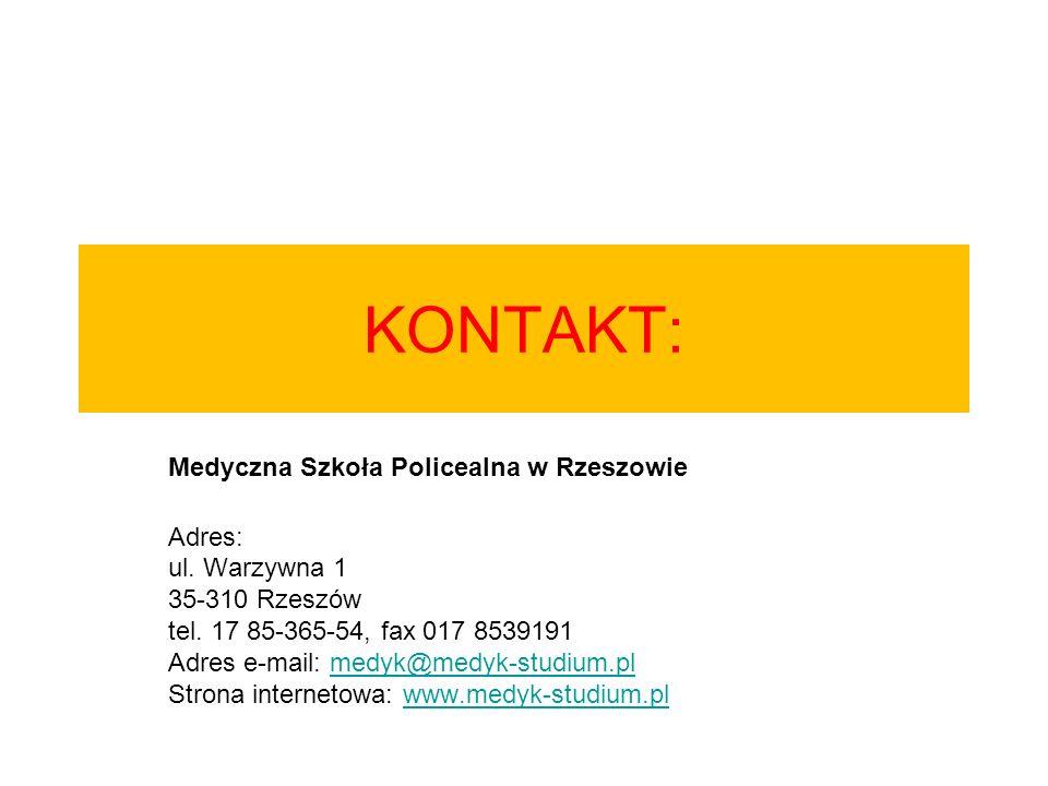 KONTAKT: Medyczna Szkoła Policealna w Rzeszowie