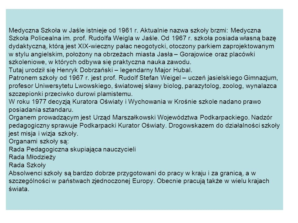 Medyczna Szkoła w Jaśle istnieje od 1961 r