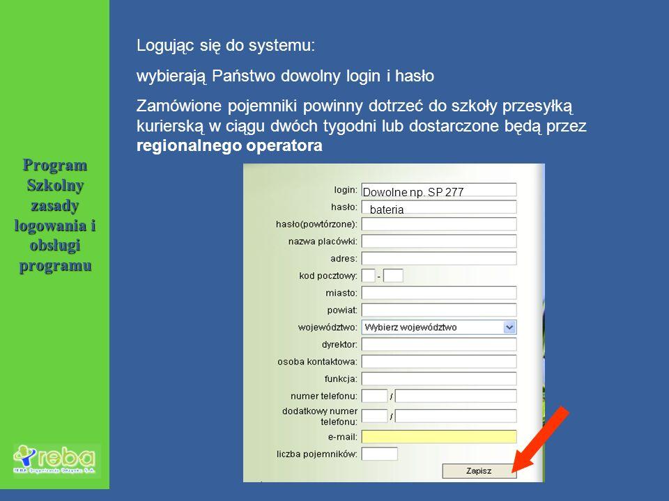 Program Szkolny zasady logowania i obsługi programu