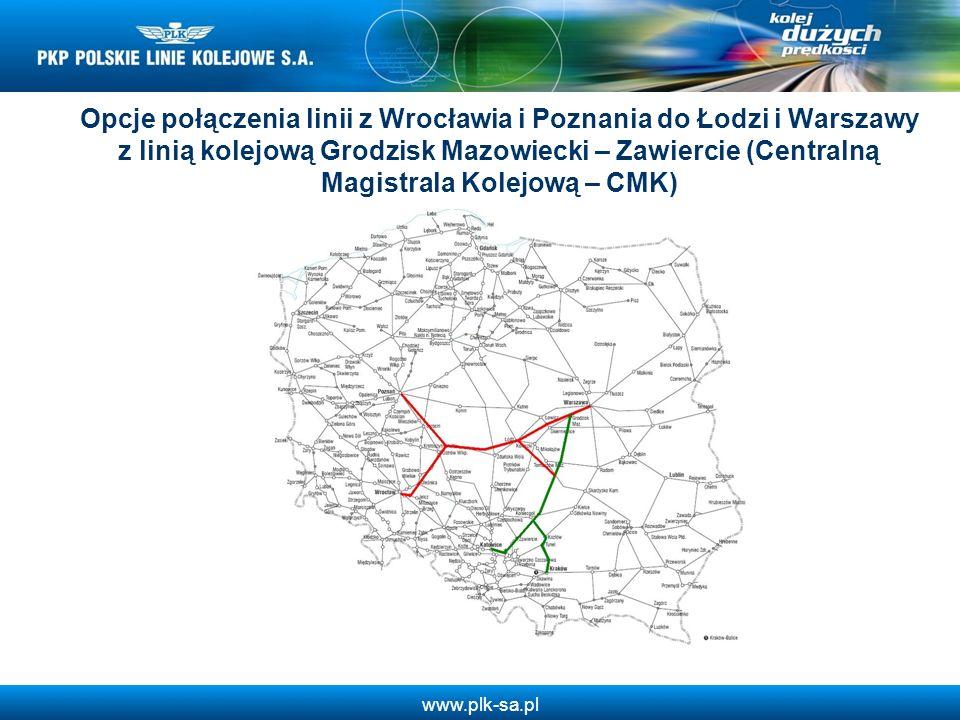 Opcje połączenia linii z Wrocławia i Poznania do Łodzi i Warszawy z linią kolejową Grodzisk Mazowiecki – Zawiercie (Centralną Magistrala Kolejową – CMK)