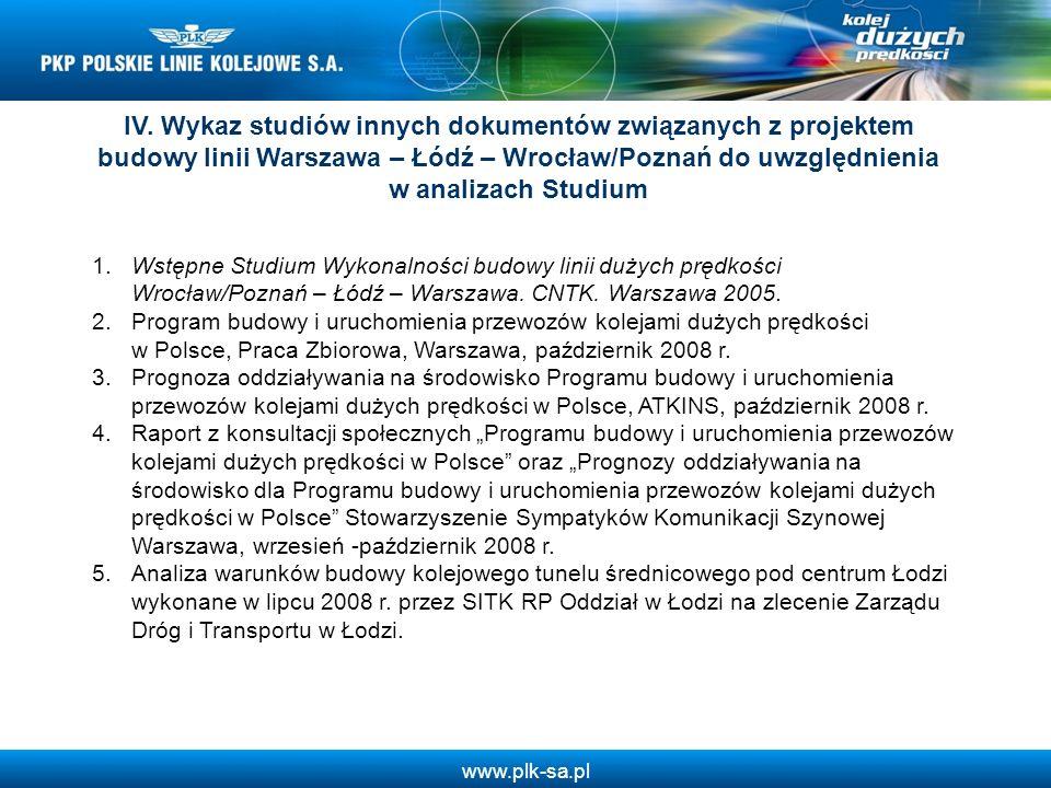 IV. Wykaz studiów innych dokumentów związanych z projektem budowy linii Warszawa – Łódź – Wrocław/Poznań do uwzględnienia w analizach Studium