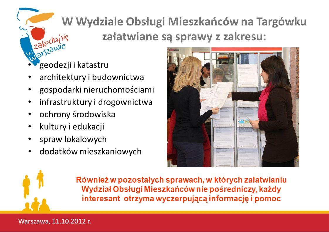 W Wydziale Obsługi Mieszkańców na Targówku załatwiane są sprawy z zakresu: