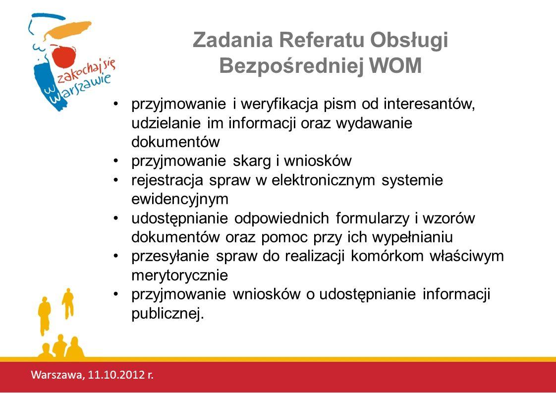 Zadania Referatu Obsługi Bezpośredniej WOM
