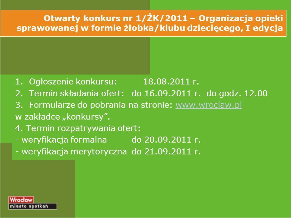 Otwarty konkurs nr 1/ŻK/2011 – Organizacja opieki sprawowanej w formie żłobka/klubu dziecięcego, I edycja