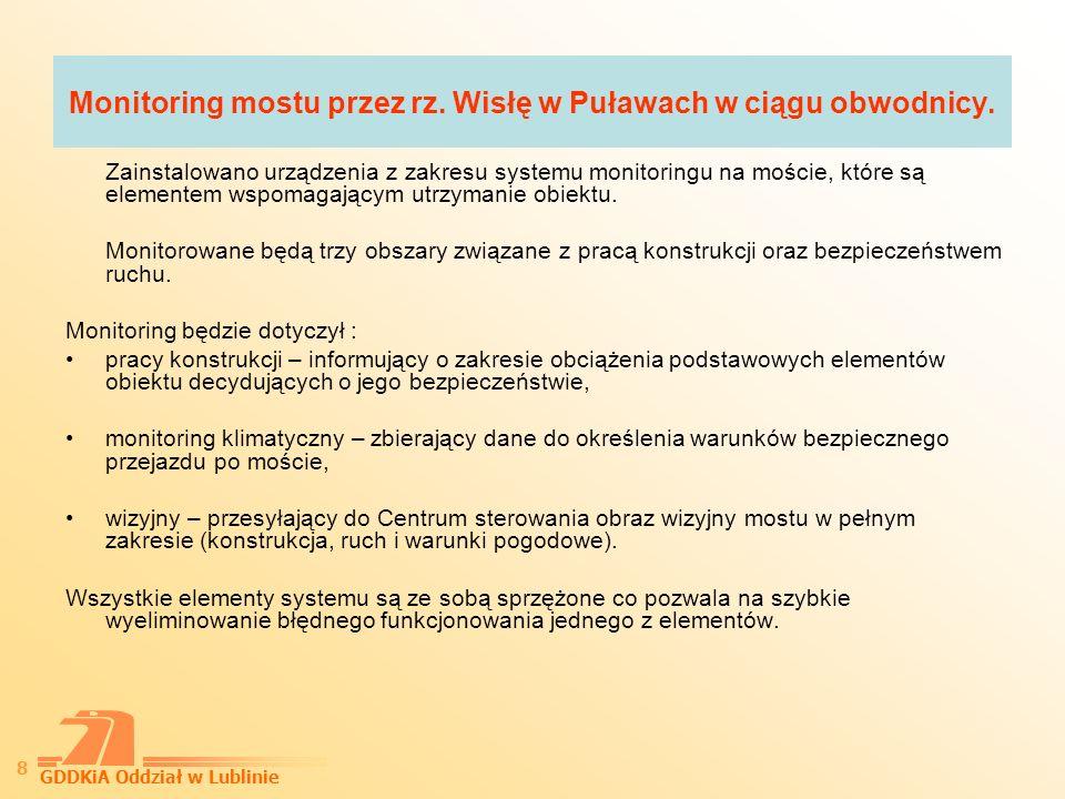 Monitoring mostu przez rz. Wisłę w Puławach w ciągu obwodnicy.