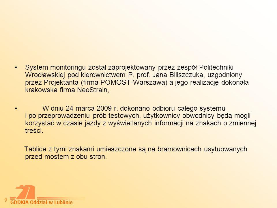 System monitoringu został zaprojektowany przez zespół Politechniki Wrocławskiej pod kierownictwem P. prof. Jana Biliszczuka, uzgodniony przez Projektanta (firma POMOST-Warszawa) a jego realizację dokonała krakowska firma NeoStrain,