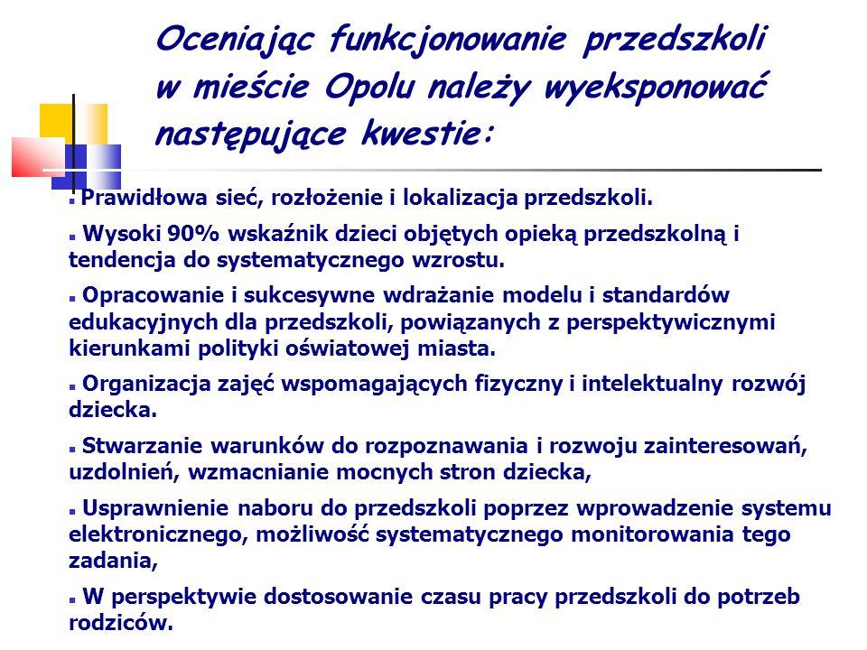 Oceniając funkcjonowanie przedszkoli w mieście Opolu należy wyeksponować następujące kwestie: