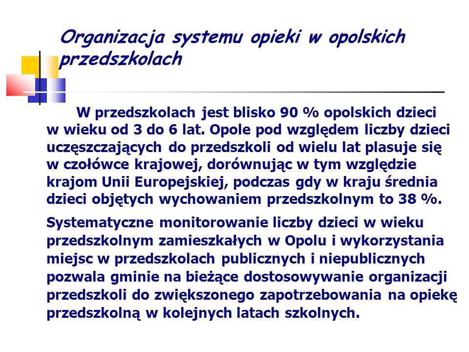 Organizacja systemu opieki w opolskich przedszkolach