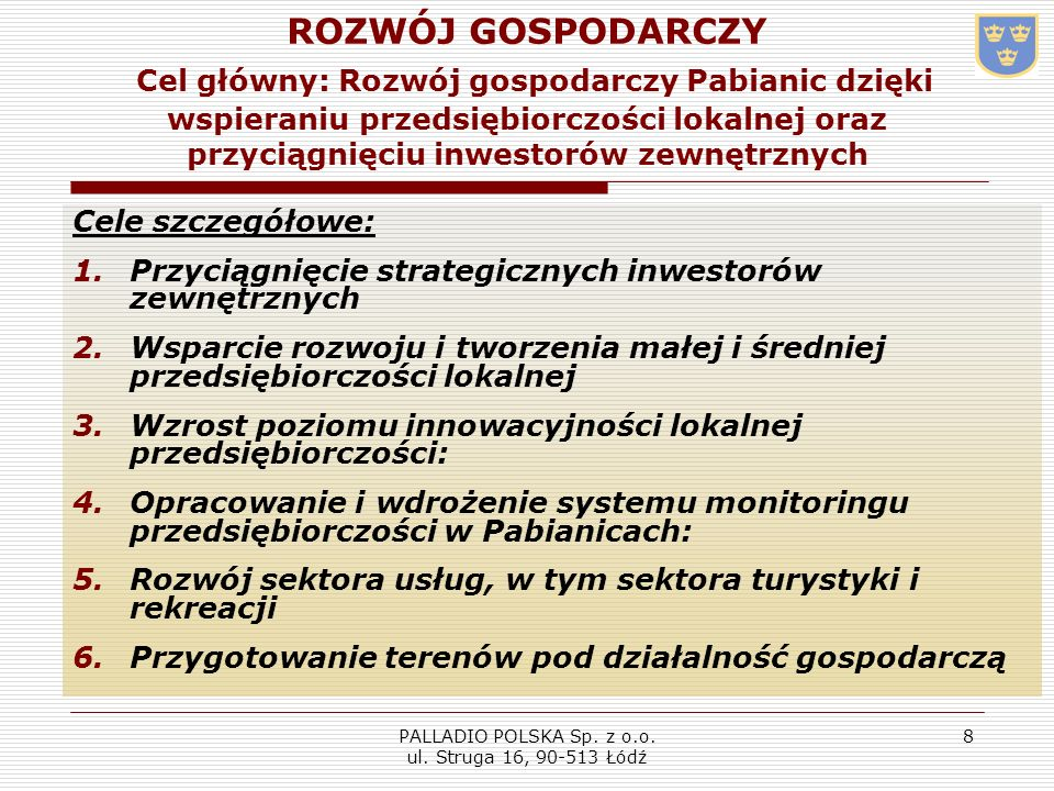 PALLADIO POLSKA Sp. z o.o. ul. Struga 16, 90-513 Łódź