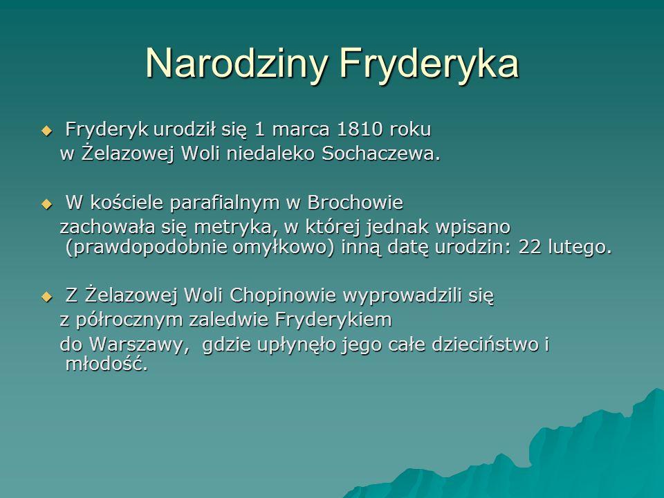Narodziny Fryderyka Fryderyk urodził się 1 marca 1810 roku
