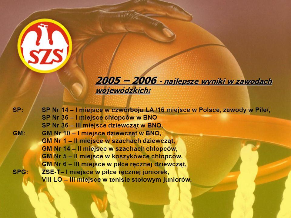 2005 – 2006 - najlepsze wyniki w zawodach wojewódzkich: