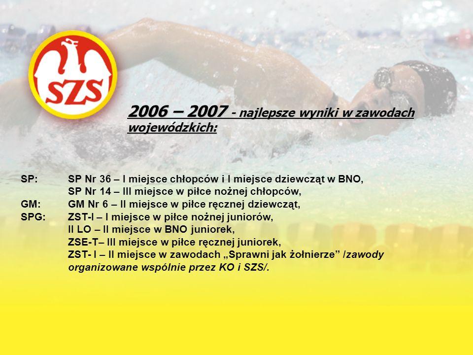 2006 – 2007 - najlepsze wyniki w zawodach wojewódzkich: