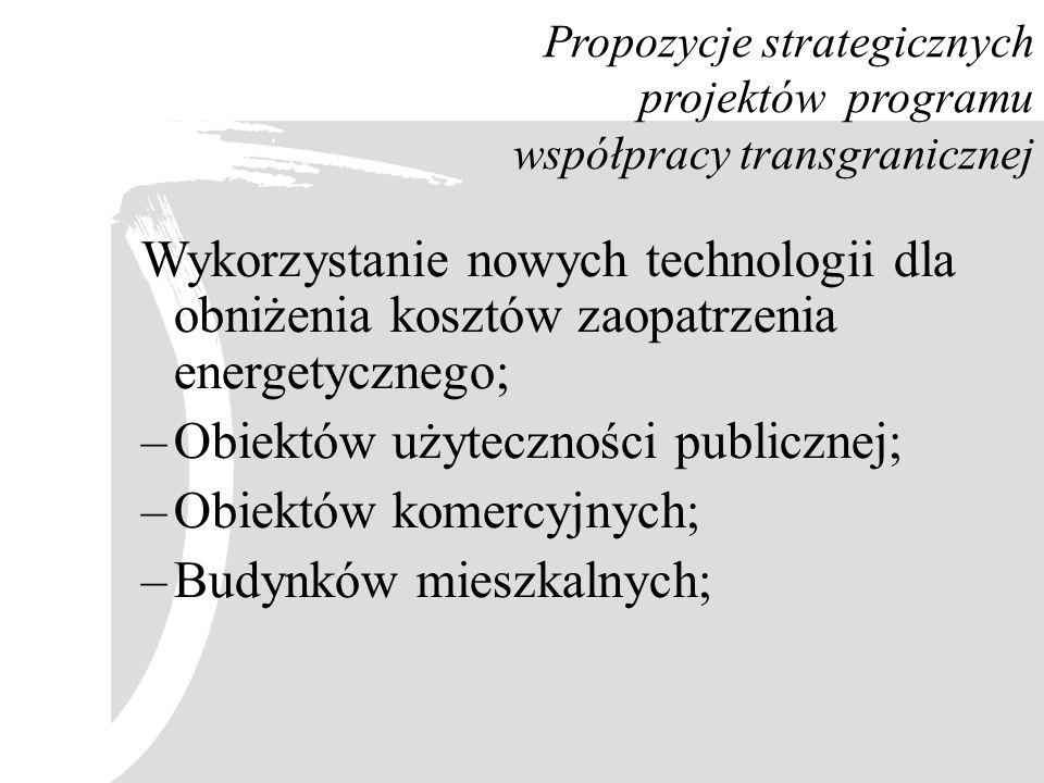 Obiektów użyteczności publicznej; Obiektów komercyjnych;
