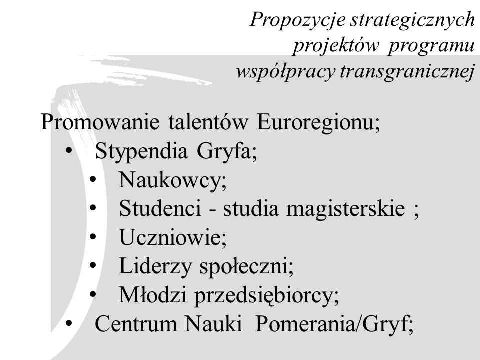 Promowanie talentów Euroregionu; Stypendia Gryfa; Naukowcy;