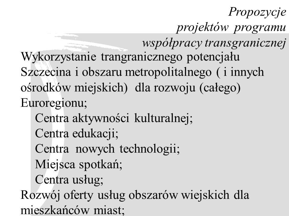 Propozycje projektów programu współpracy transgranicznej