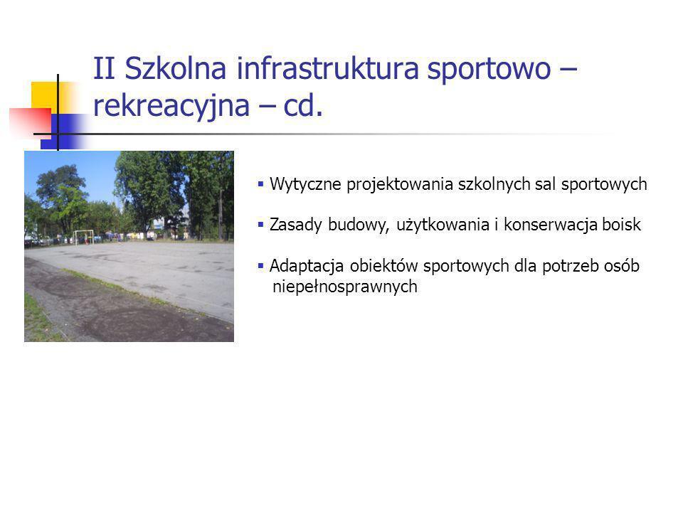 II Szkolna infrastruktura sportowo – rekreacyjna – cd.