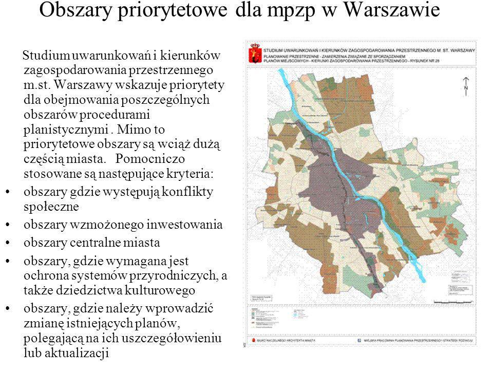 Obszary priorytetowe dla mpzp w Warszawie