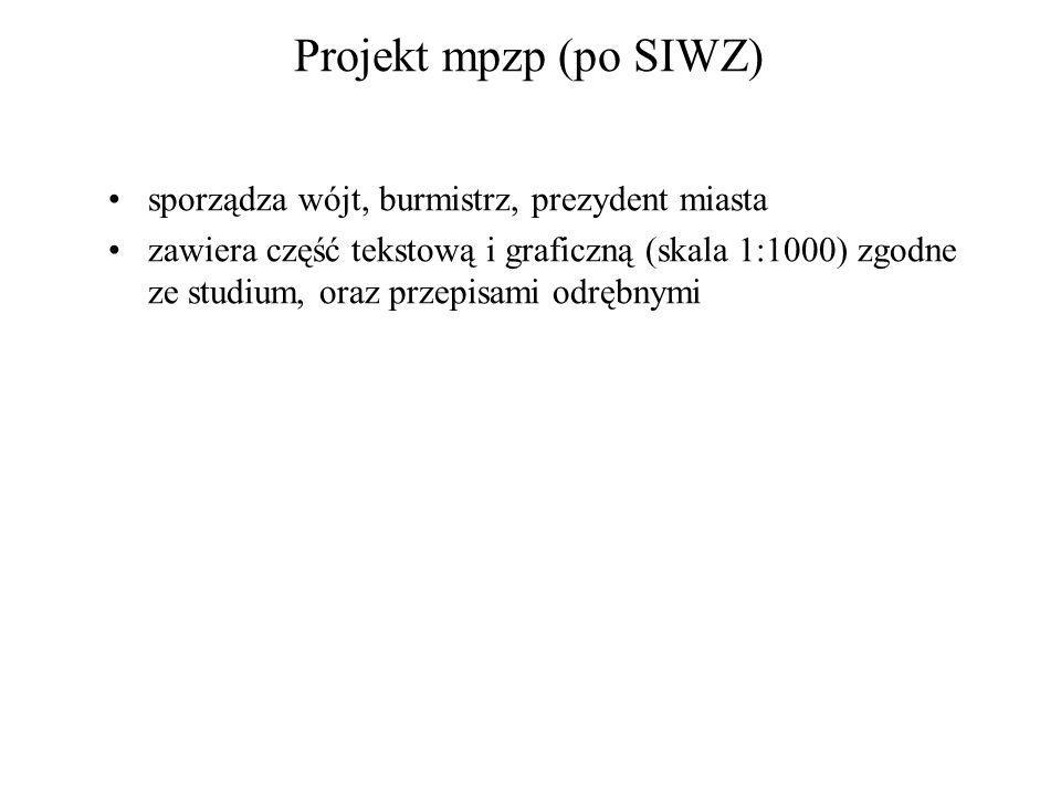 Projekt mpzp (po SIWZ) sporządza wójt, burmistrz, prezydent miasta