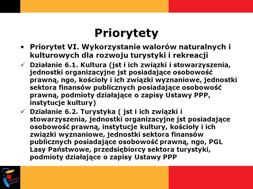 Priorytety Priorytet VI. Wykorzystanie walorów naturalnych i kulturowych dla rozwoju turystyki i rekreacji.