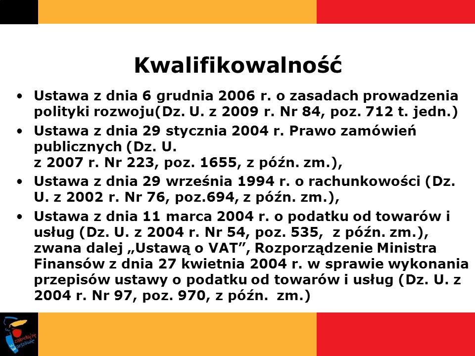 Kwalifikowalność Ustawa z dnia 6 grudnia 2006 r. o zasadach prowadzenia polityki rozwoju(Dz. U. z 2009 r. Nr 84, poz. 712 t. jedn.)