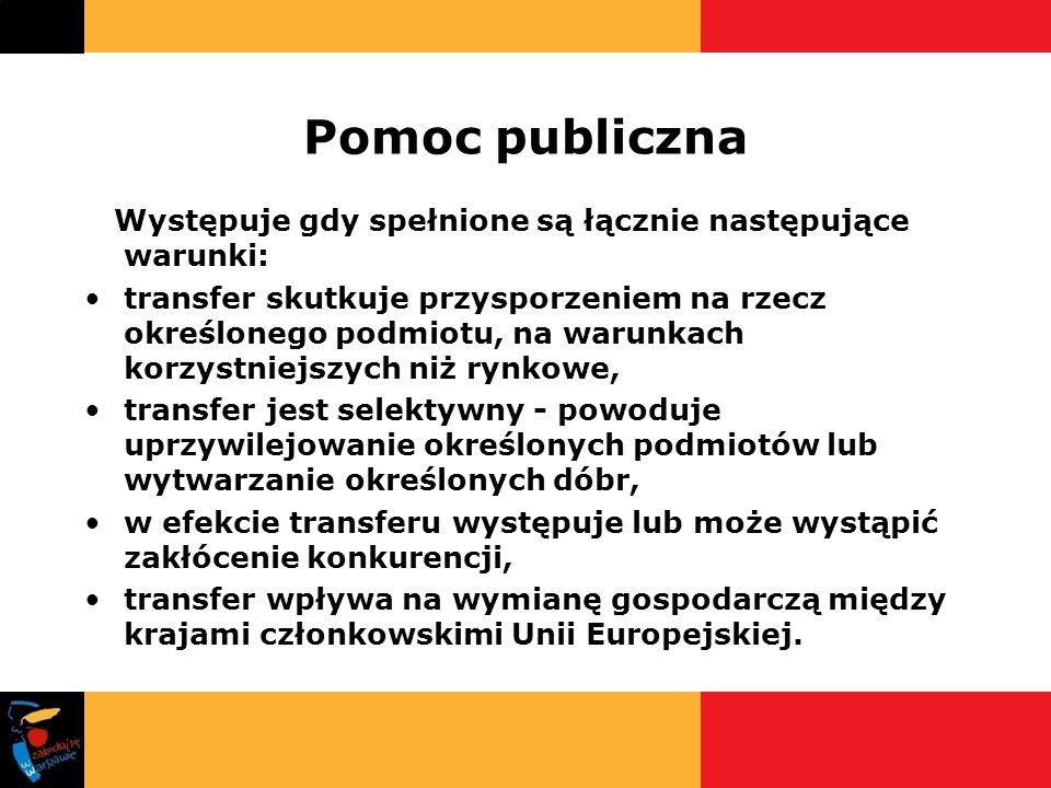 Pomoc publiczna Występuje gdy spełnione są łącznie następujące warunki: