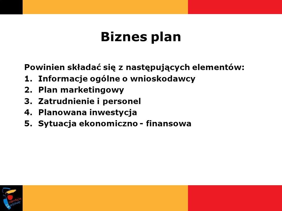 Biznes plan Powinien składać się z następujących elementów: