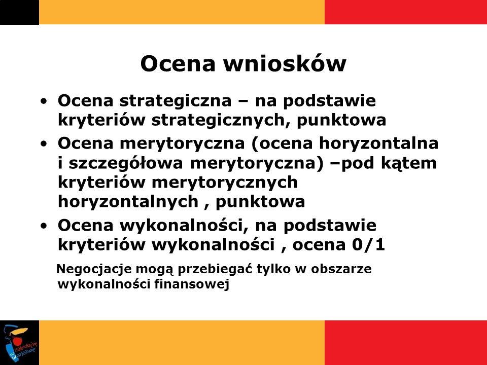 Ocena wniosków Ocena strategiczna – na podstawie kryteriów strategicznych, punktowa.