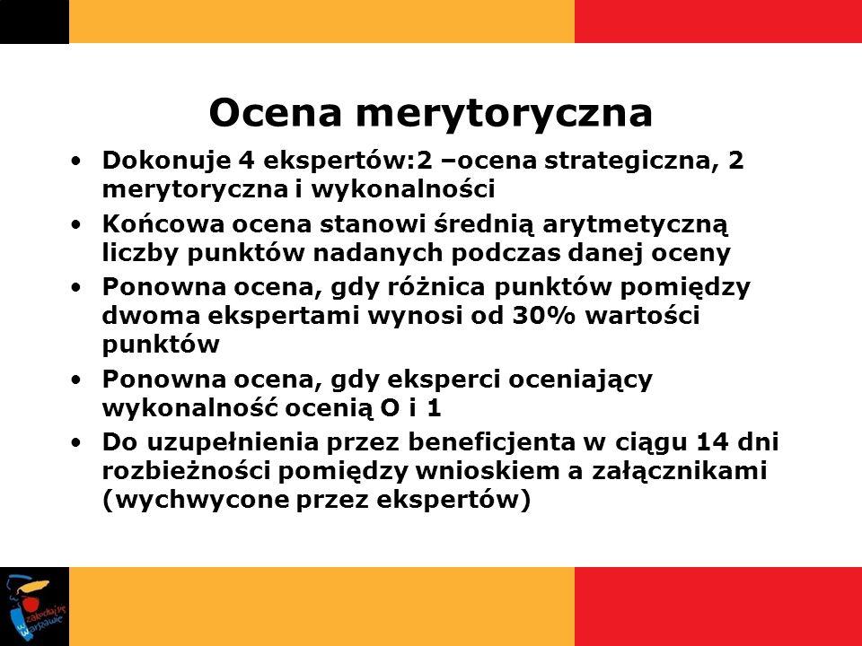 Ocena merytoryczna Dokonuje 4 ekspertów:2 –ocena strategiczna, 2 merytoryczna i wykonalności.