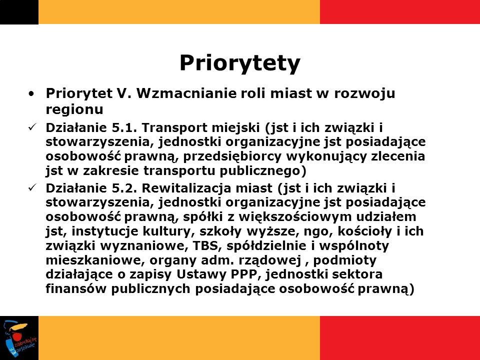 Priorytety Priorytet V. Wzmacnianie roli miast w rozwoju regionu