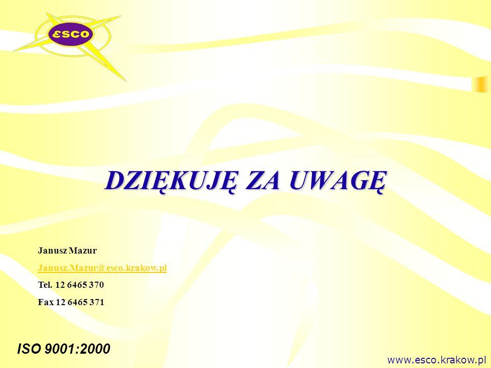 DZIĘKUJĘ ZA UWAGĘ Janusz Mazur Janusz.Mazur@esco.krakow.pl