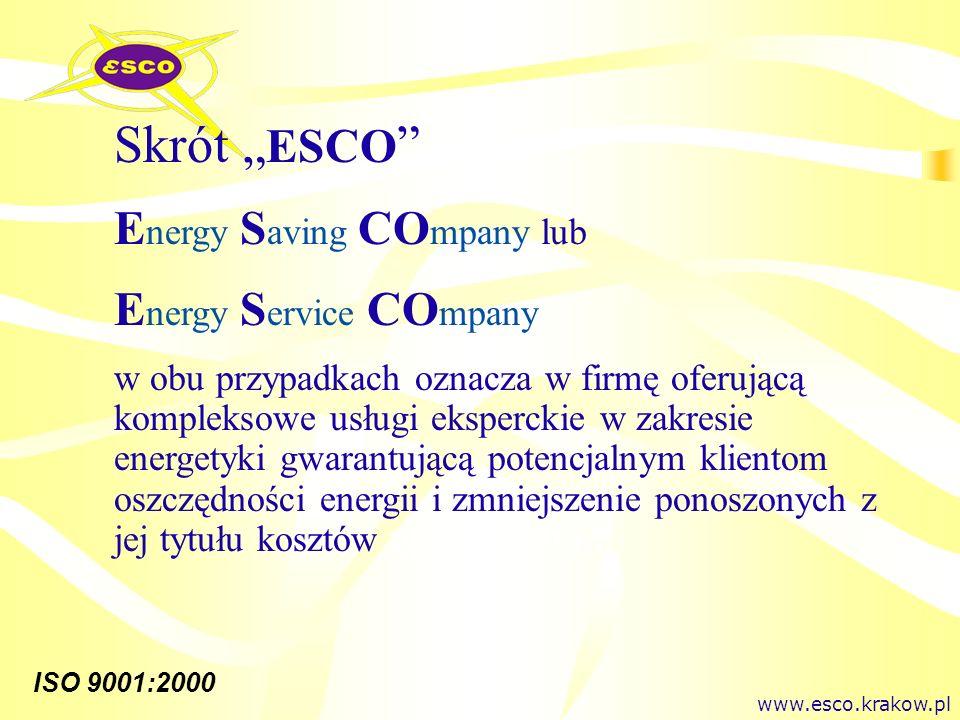 "Skrót ""ESCO Energy Saving COmpany lub Energy Service COmpany"