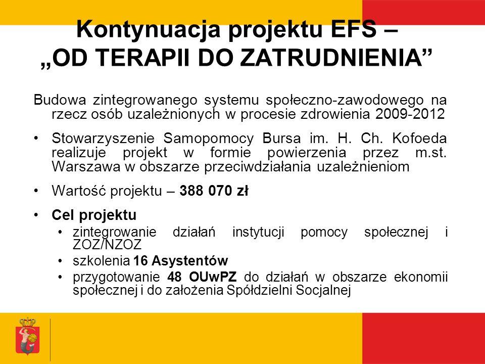"""Kontynuacja projektu EFS – """"OD TERAPII DO ZATRUDNIENIA"""