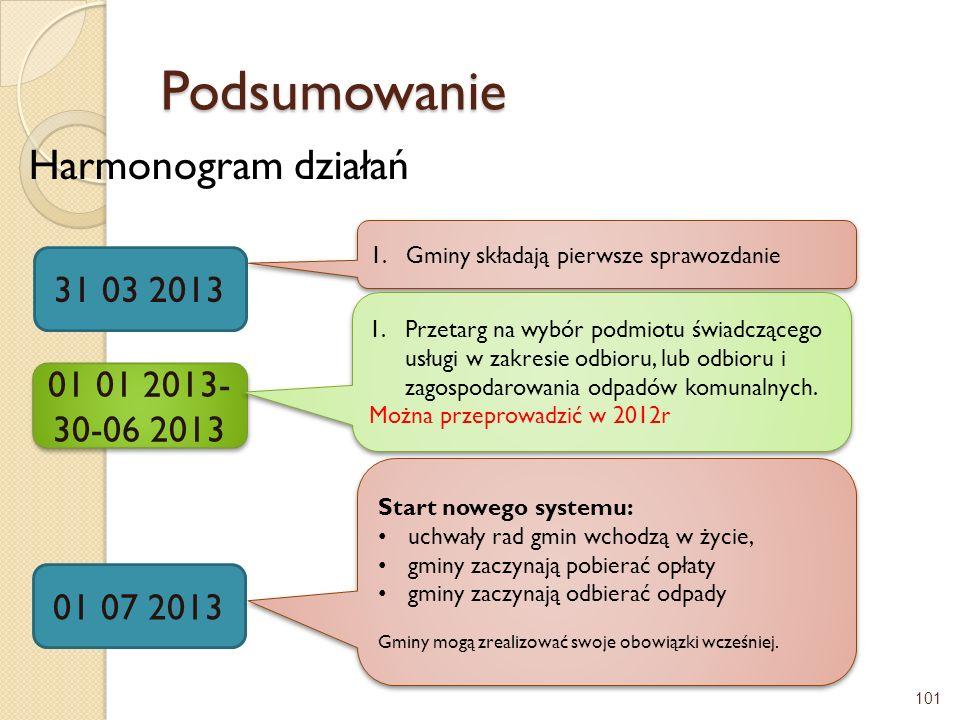 Podsumowanie Harmonogram działań 31 03 2013 01 01 2013-30-06 2013
