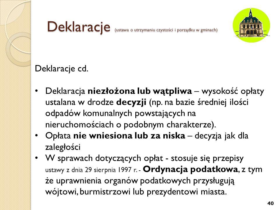 Deklaracje (ustawa o utrzymaniu czystości i porządku w gminach)