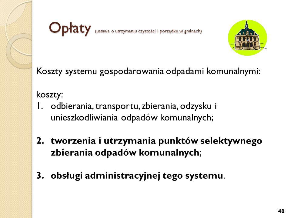 Opłaty (ustawa o utrzymaniu czystości i porządku w gminach)