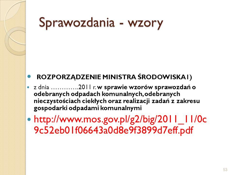 Sprawozdania - wzory ROZPORZĄDZENIE MINISTRA ŚRODOWISKA1)