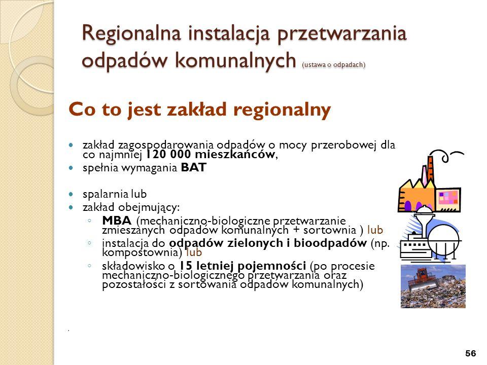 Regionalna instalacja przetwarzania odpadów komunalnych (ustawa o odpadach)