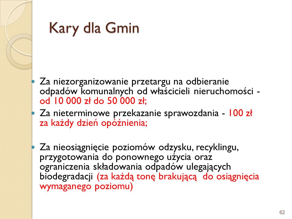 Kary dla GminZa niezorganizowanie przetargu na odbieranie odpadów komunalnych od właścicieli nieruchomości - od 10 000 zł do 50 000 zł;