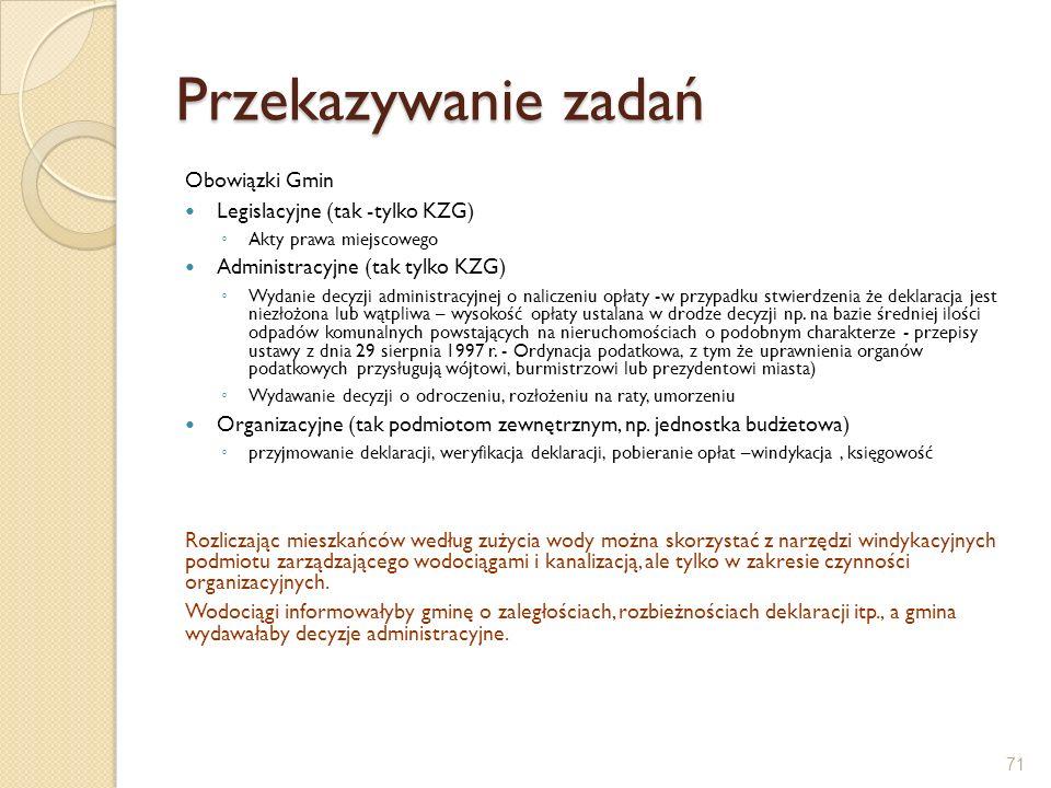 Przekazywanie zadań Obowiązki Gmin Legislacyjne (tak -tylko KZG)