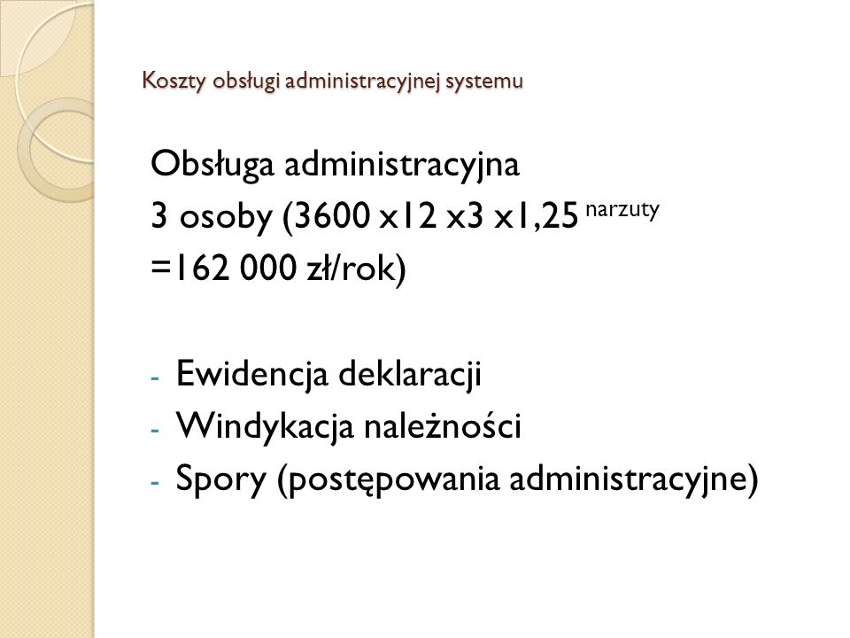 Koszty obsługi administracyjnej systemu