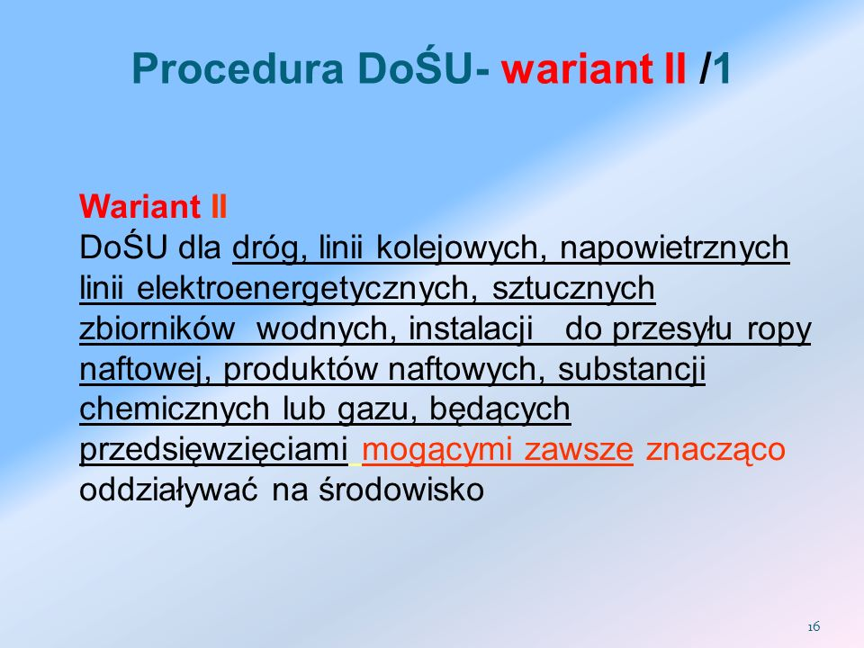 Procedura DoŚU- wariant II /1